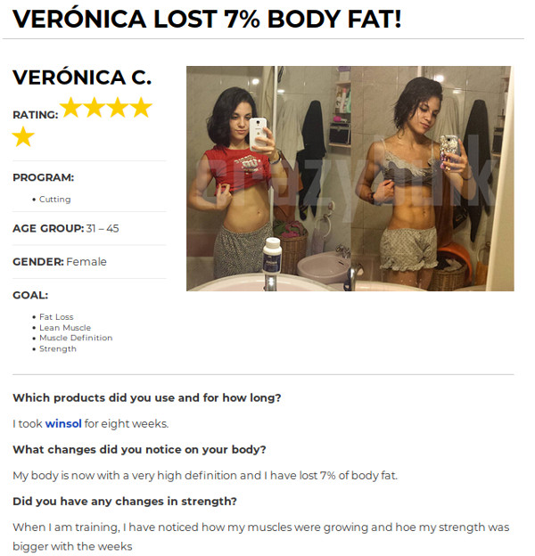 Veronica Lost 7% Body Fat after Using Winsol